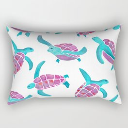 turtle watercolor pink and blue Rectangular Pillow
