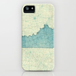 Kentucky State Map Blue Vintage iPhone Case