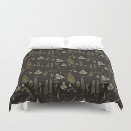 Fern pattern black Duvet Cover