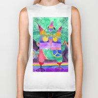 hippie Biker Tanks featuring Hippie Owl by Mesterpieces