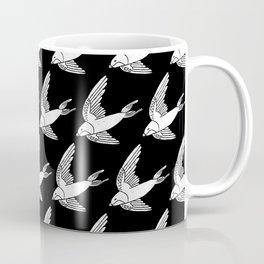 Linocut Swallow bird pattern black and white birds minimal gender neutral nursery Coffee Mug