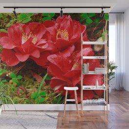 Fallen camellias Wall Mural