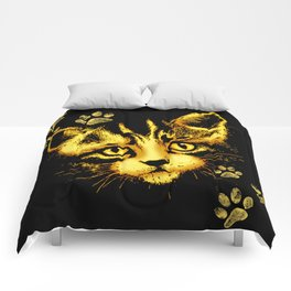 Cute Cat Portrait with Paws Prints Comforters