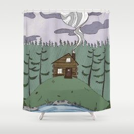 Colored Cabin Shower Curtain