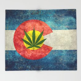 Retro Colorado State flag with the leaf - Marijuana leaf that is! Throw Blanket