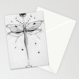 Dragonfly Tattoo Style Black and White Design Stationery Cards