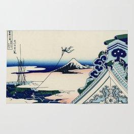 """Hokusai (1760-1849) """"Asakusa Hongan-ji temple in the Eastern capital [Edo]"""" Rug"""