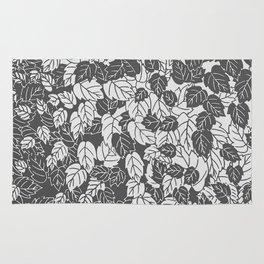 Japanese Leaf Print, Light and Dark Gray / Grey Rug