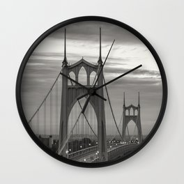 St. John's Bridge - B + W Wall Clock
