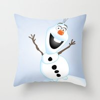 olaf Throw Pillows featuring Olaf Frozen  by Lemo Boy