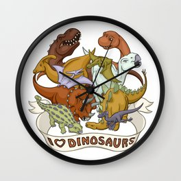 I Heart Dinosaurs Wall Clock