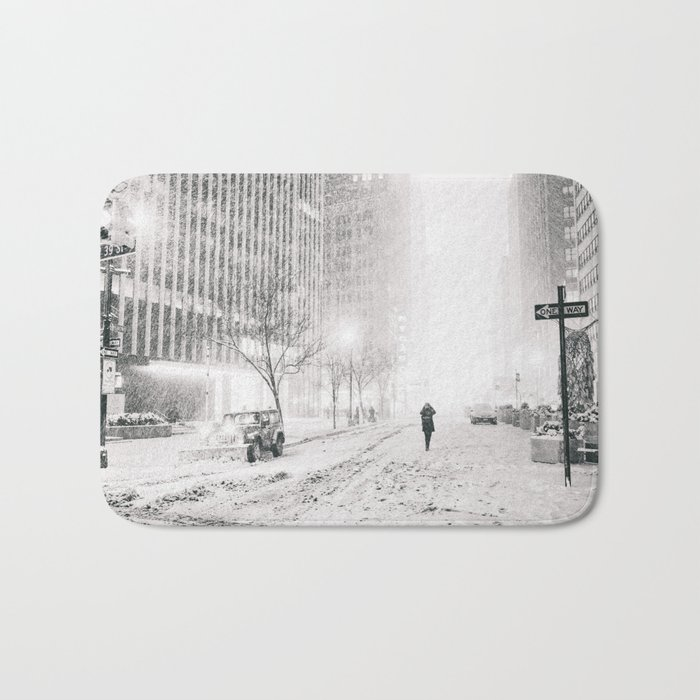 New York City Snow in Times Square Bath Mat