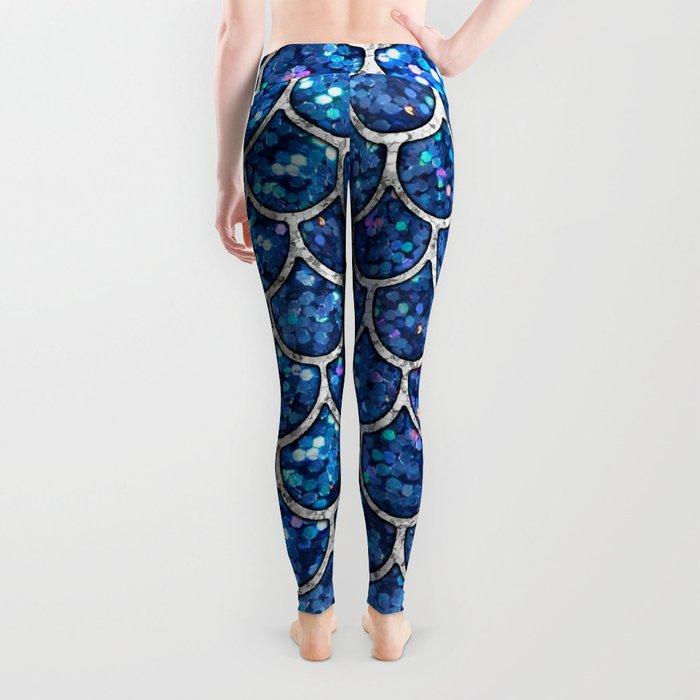 Sparkly Blue & Silver Glitter Mermaid Scales Leggings
