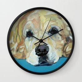 Shiner the Golden Retriever Portrait Wall Clock