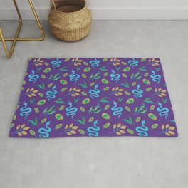 Wild exotic decorative snakes, little leaves serpent tropical botanical animal whimsical stylish nature blue and mauve dark purple retro vintage pattern. Plants and reptiles.  Rug