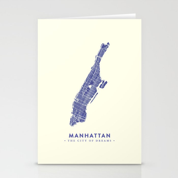 Manhattan Map NYC Stationery Cards