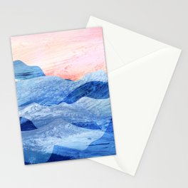 Abstract art of beautiful nature scene of mountains with fog using soft blues, oranges, pinks Stationery Cards