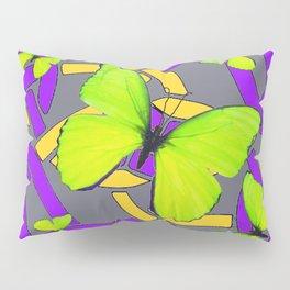 Lime Yellow Butterflies Purple-grey-gold Celtic Art Pillow Sham