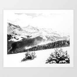 Fresh Snow Dust // Black and White Powder Day on the Mountain Art Print