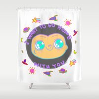 et Shower Curtains featuring ET by grecia colunga