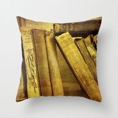 Old Books on a Shelf Throw Pillow