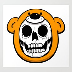 Alfredo Monster Skull Bear Hat  Art Print