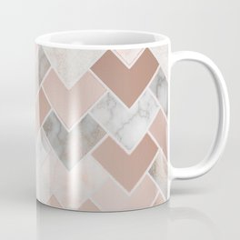 Rose Gold and Marble Geometric Tiles Coffee Mug
