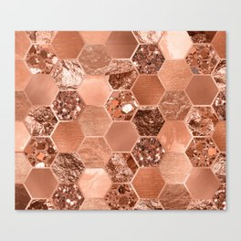 Rose gold hexaglam blonde Canvas Print