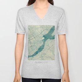 Quebec City Map Blue Vintage Unisex V-Neck
