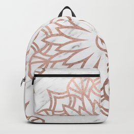 Marble mandala - floral rose gold on white Backpack