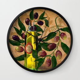 Olives and Italian Olive Oil Wall Clock