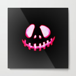 Halloween. Jack O Lantern Hot Pink & Black Metal Print