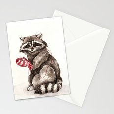 Pensive Raccoon in Red Mittens. Winter Season. Stationery Cards