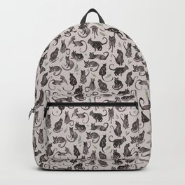 Black Cats and Leaves Pattern Backpack