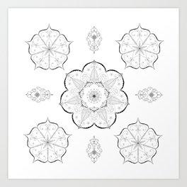 Mandala floral abstract yoga pattern namaste Art Print