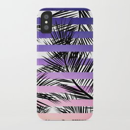 Watercolor summer sunset ombre stripes tropical palm tree iPhone Case