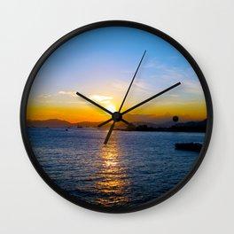 Sunset in Star Ferry Pier, Hong Kong Wall Clock