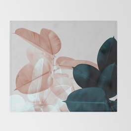 Blush & Blue Leaves Throw Blanket