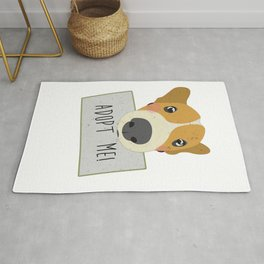 Adopt A Shelter Dog Puppy Face Holding Adopt Me Sign Art Rug