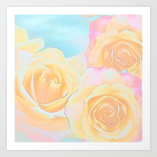 Painterly roses in pink, orange, yellow and blue Art Print