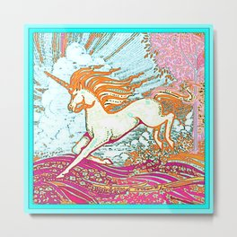 Mythical Unicorn Running in  Meadow Fantasy Art Metal Print
