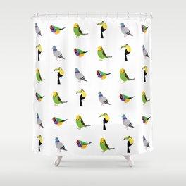 geometric bird print Shower Curtain