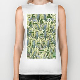 massed wattle blooms on textured background Biker Tank