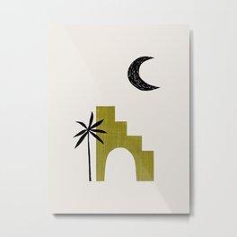 Avocado Green Ancient Ruin Minimalist Mid Century Modern Architecture Moon Palm Tree by Ejaaz Haniff Metal Print