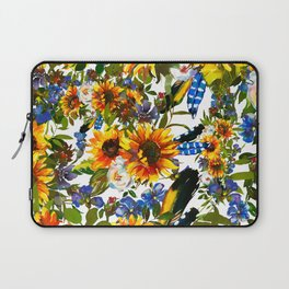 Abstract navy blue yellow watercolor sunflowers pansies pattern Laptop Sleeve