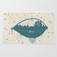 moscow Area & Throw Rugs featuring Frozen Moscow by Paula Belle Flores