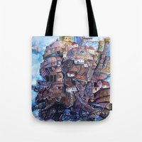 calcifer Tote Bags featuring Howl's Moving Castle Painting by Little Miss Marikit