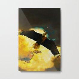 Eagle Storm Fantasy Art - Flying Bald Eagle Metal Print