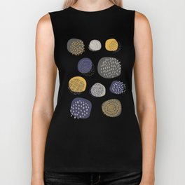 Abstract Circles in Mustard, Charcoal, and Navy Biker Tank