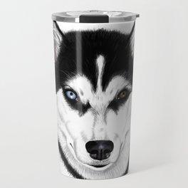 Husky different eyes Travel Mug